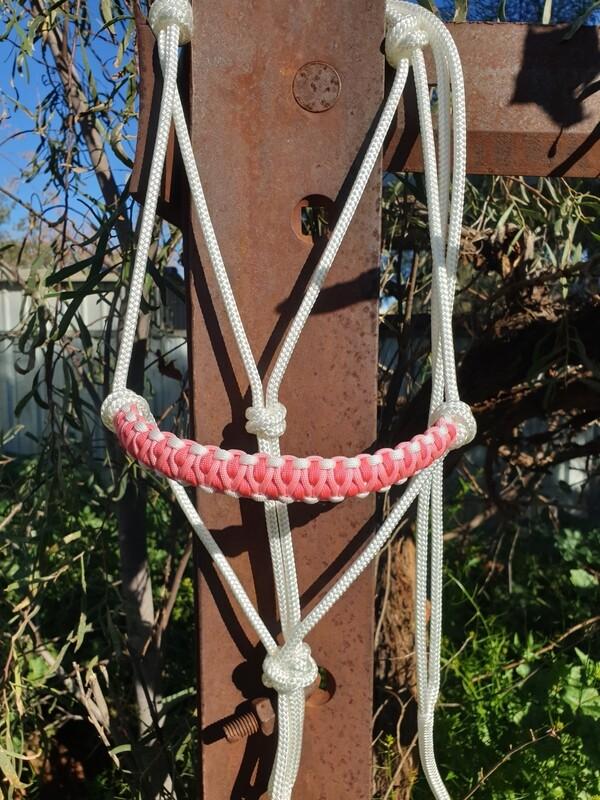 Drakon White/Rose Pink and Pink Rope Halter