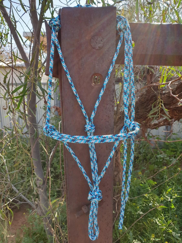 Aqua/Navy/Silver Rope Halter