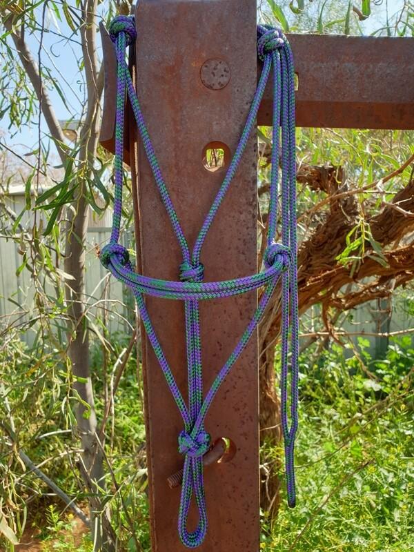 Hunter Green and Purple Rope Halter