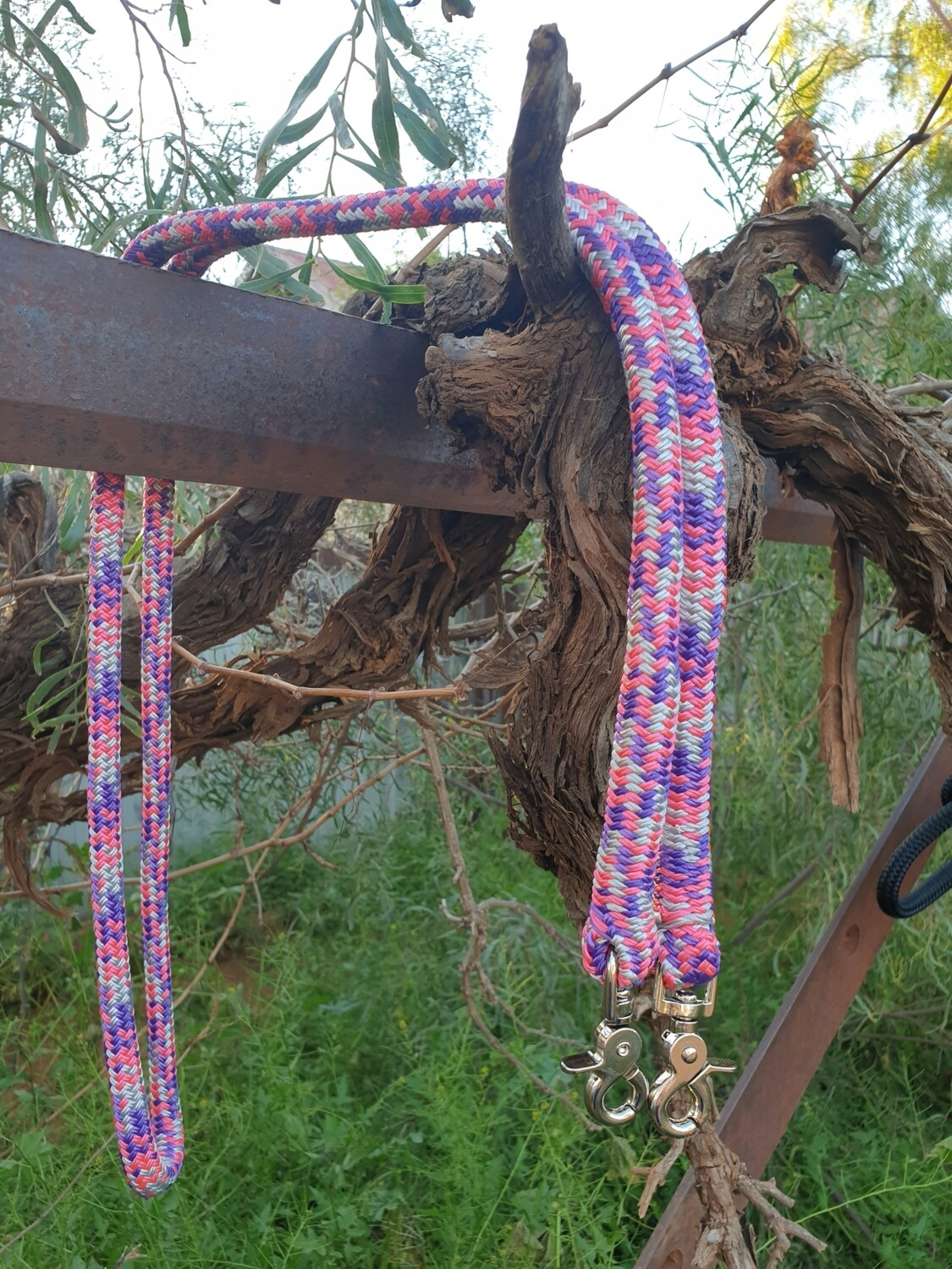 Pink/Purple/Silver Rope Reins