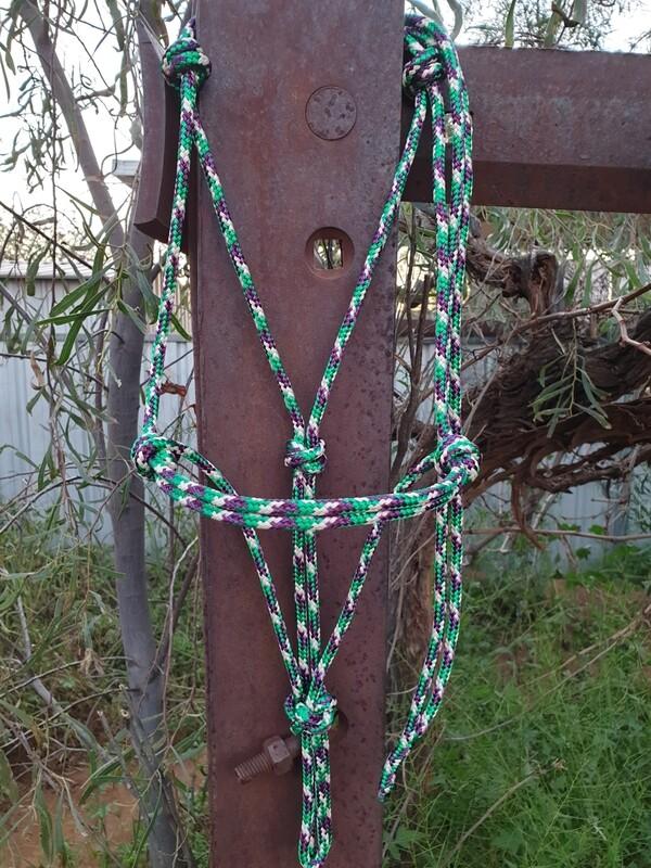 Kelly Green/Plum/Cream Rope Halter