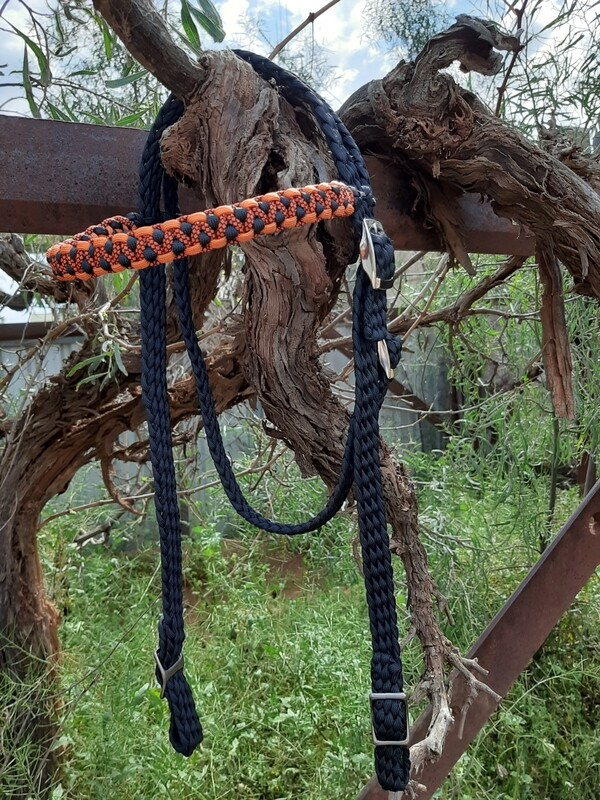 Black and Orange Braided Bridle