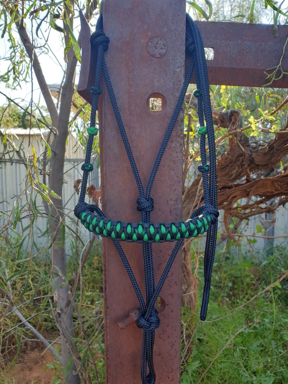 Drakon Midnight Black/Kelly Green Rope Halter