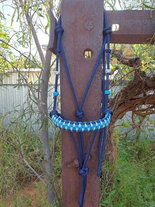 Drakon Navy/Aqua/Silver Rope Halter