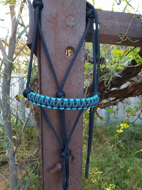 Drakon Midnight Black/Aqua/Aqua Diamonds Rope Halter