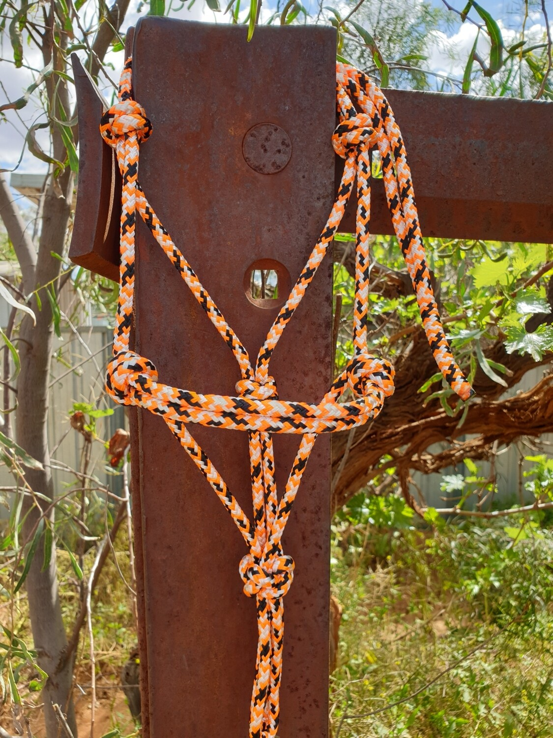 Orange/White/Black Rope Halter