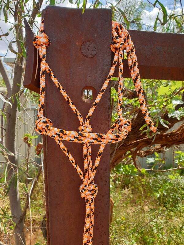 Orange/White/Black Rope Halter