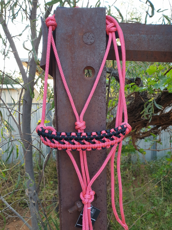 Apollo Pink/Black Rope Halter