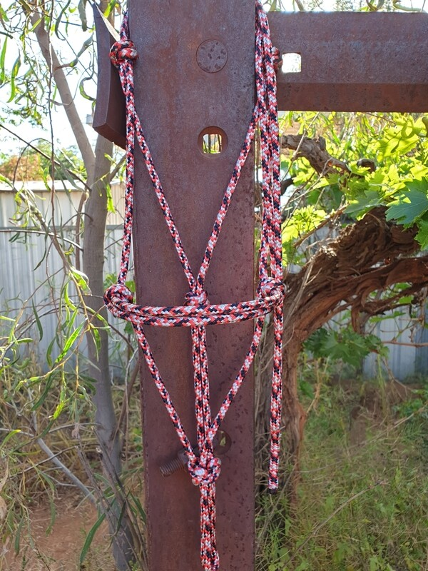 Red/Silver/Black Rope Halter