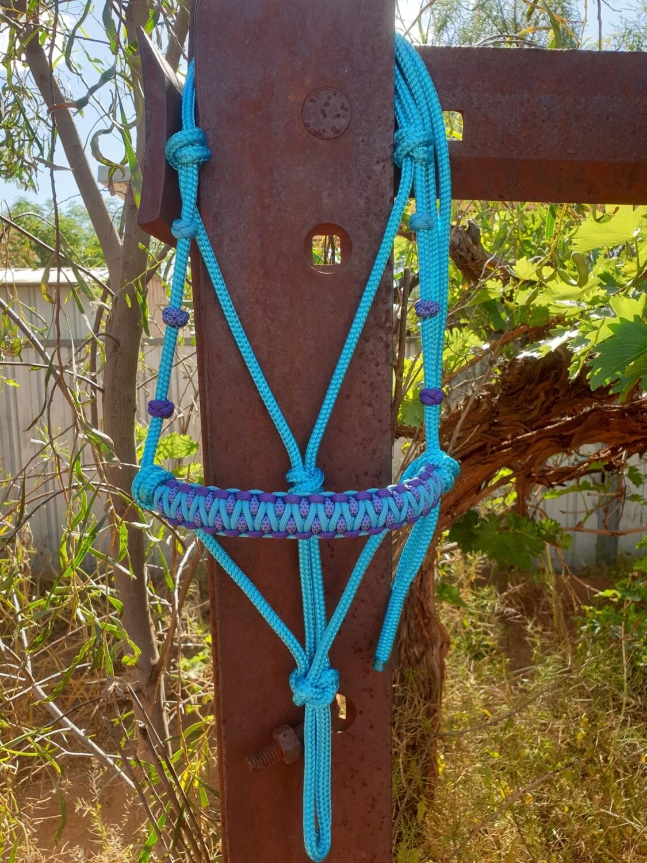 Drakon Aqua/Acid Purple/Acid Purple and Aqua Diamonds Rope Halter