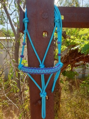 Drakon Aqua/Acid Purple/Acid Purple and Aqua Diamonds Rope Halter