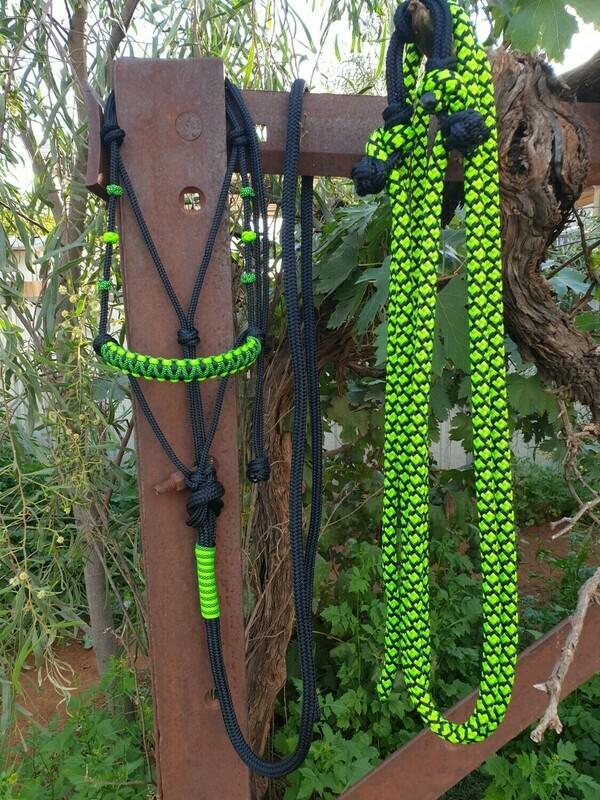 Drakon Midnight Black/Lime Green/Lime Green-Black Diamond Rope Halter, Lead and Rope Reins Set