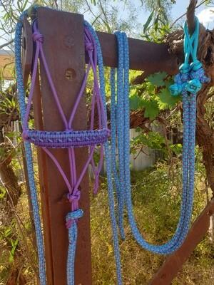 Apollo Purple/Aqua-Purple Diamonds Rope halter, Lead and Rope Reins Set
