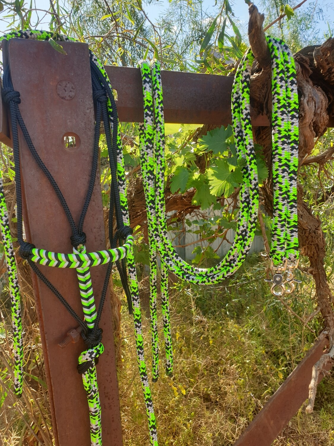 Lime Green/Silver/Black Rope Halter, Lead and Rope Reins Set