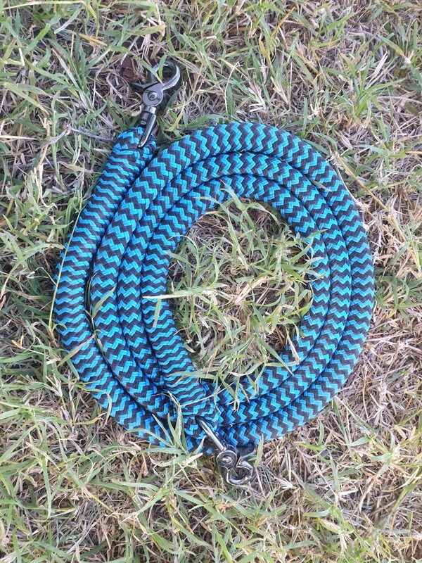 Blue/Black ZigZag- 6ft Joined Reins