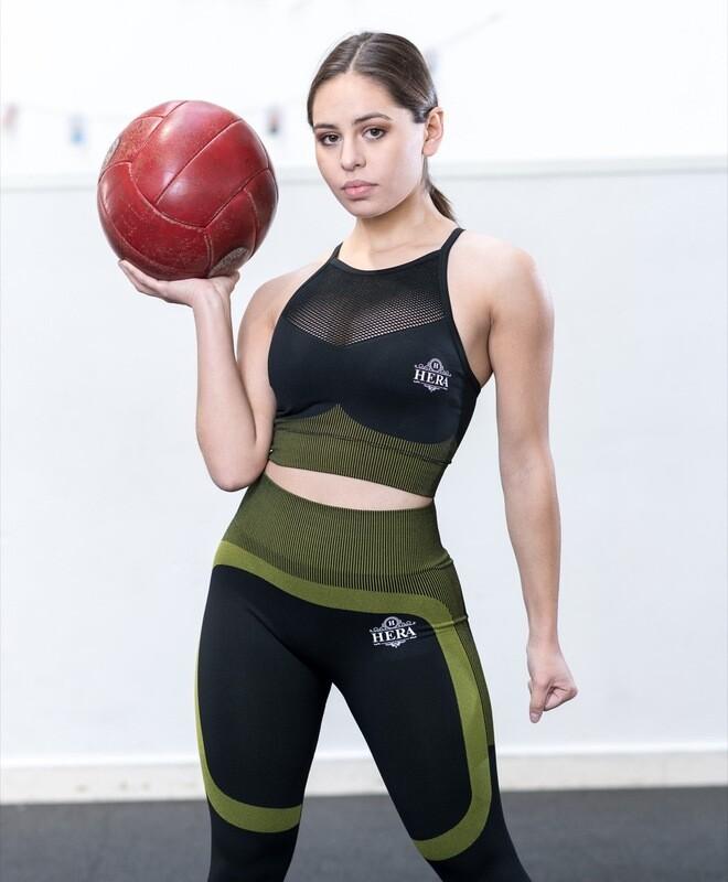INANNA Mesh Sports Bra Green & Black