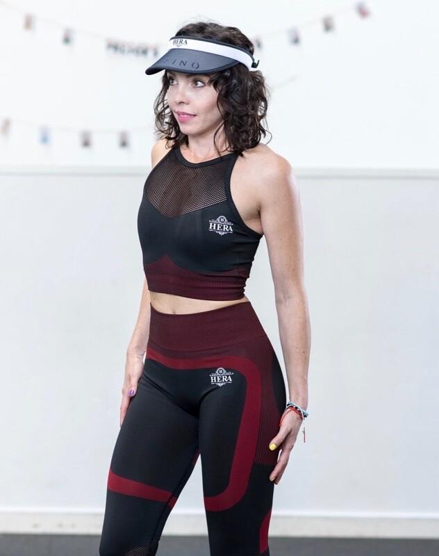 INANNA Mesh Sports Bra Red & Black 