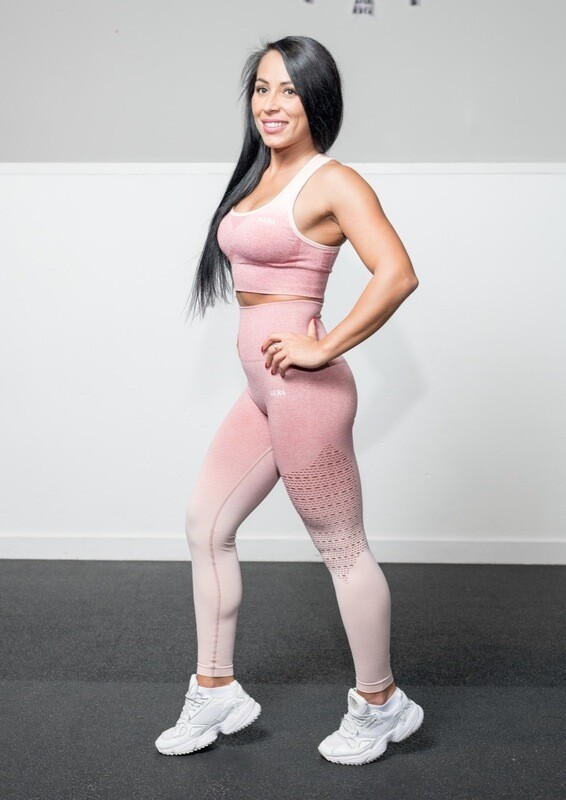 ALA push up leggings | Light Pink&White