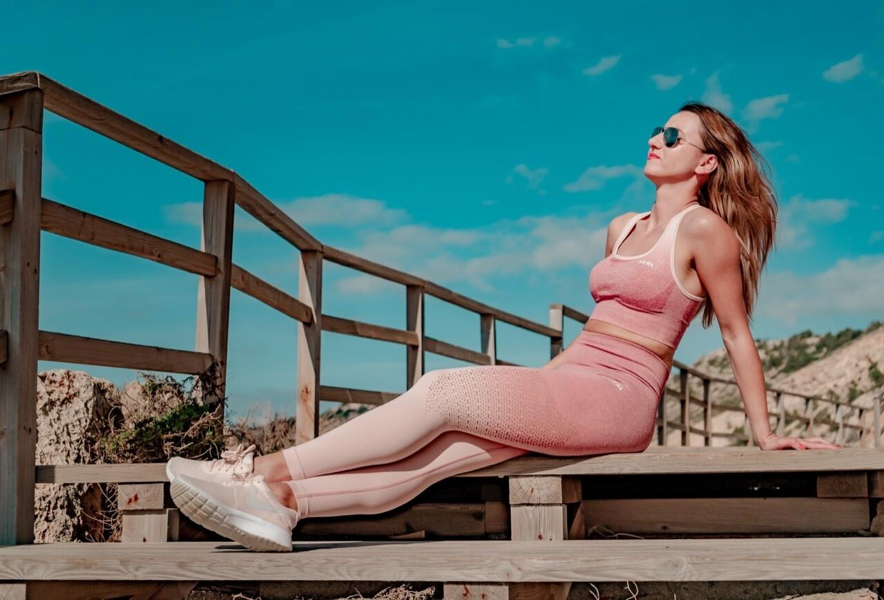 ALA push up leggings | Light Rose & White