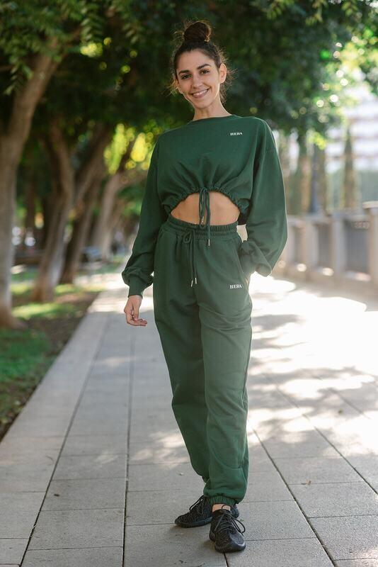 HEGET Sweatpant and Cropped Hoodie | Green