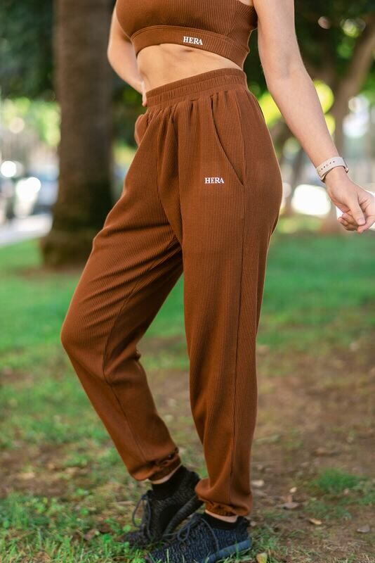 Brigid Wide Ribbed Pants | Hot Cacao