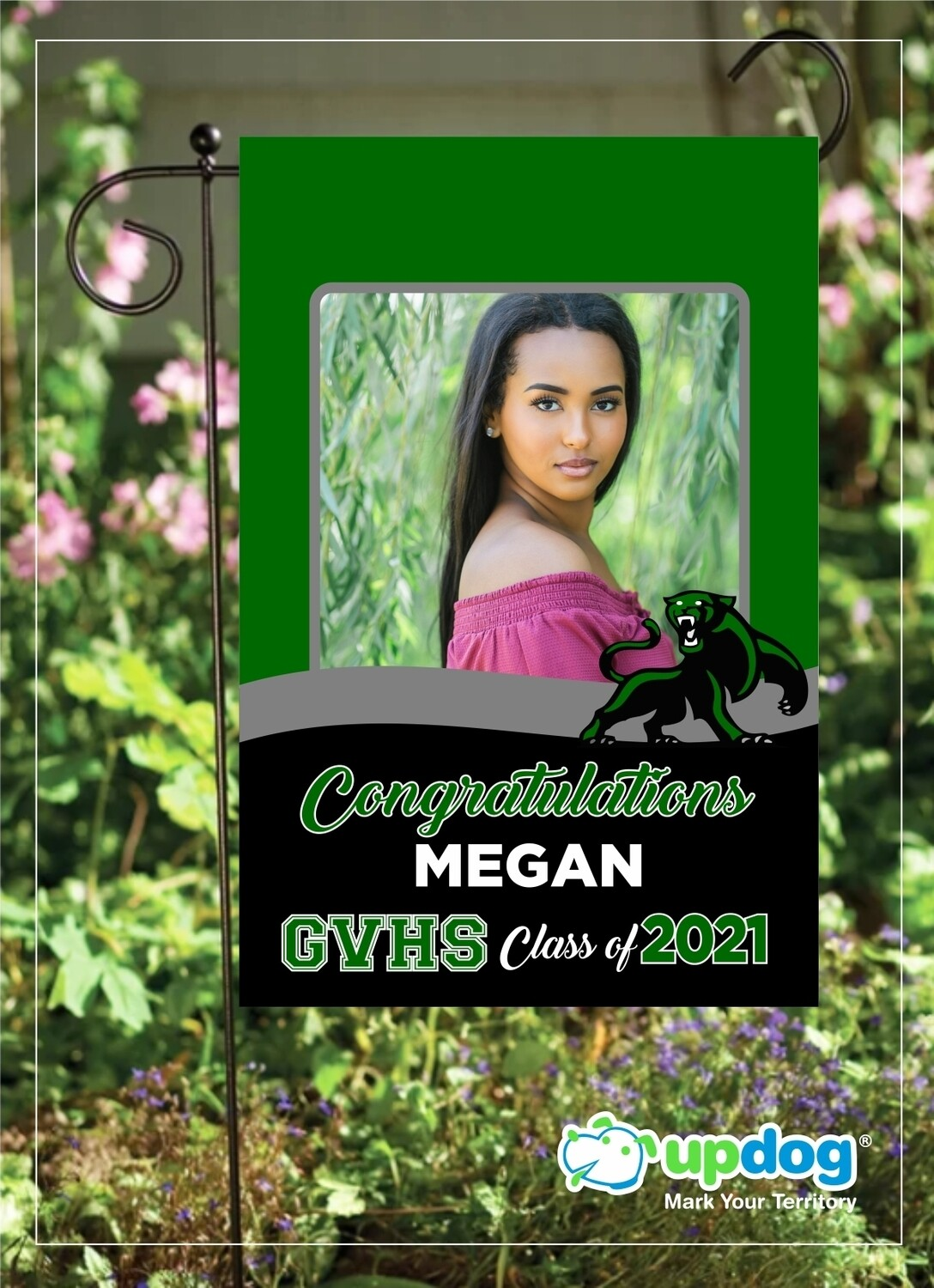 Green Valley High School - Personalized Photo and Name, Class of 2021 Senior Graduation Garden Flag, Class of 2021 Garden Flag, Congratulations Garden Flag