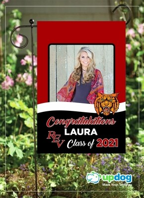 REV High School - Personalized Photo and Name, Class of 2021 Senior Graduation Garden Flag, Class of 2021 Garden Flag, Congratulations Garden Flag