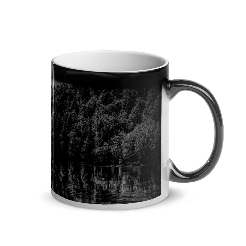 Cumberland River Reflections BW_155 Glossy Magic Mug