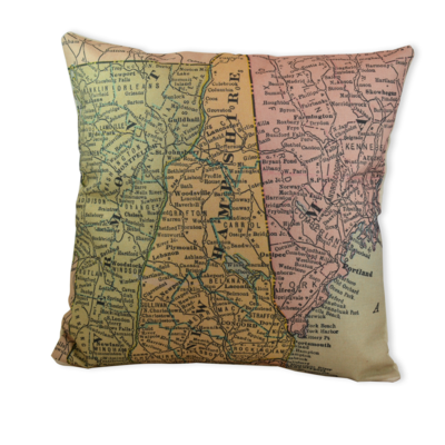 Twin States Vintage Map Pillow