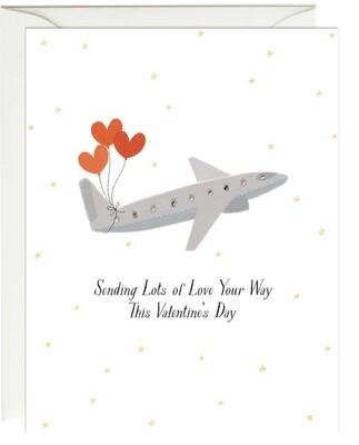 Paula & Waffle Sending Love Plane Card