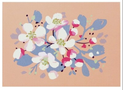Smudge Ink Apple Blossoms Notecards, set of 10
