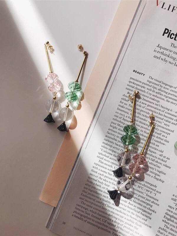ir. Glass Beads & Quartz Earrings - Pink/Green