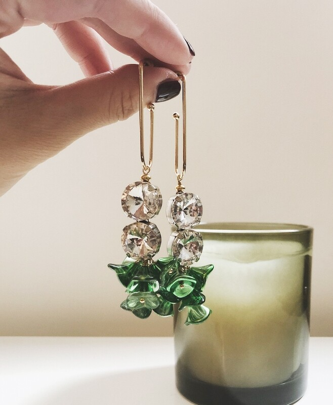 ir. Crystal & Czech Glass Beads Earrings - Green