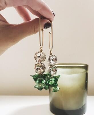 ir. Crystal & Czech Glass Beads Earrings - Green