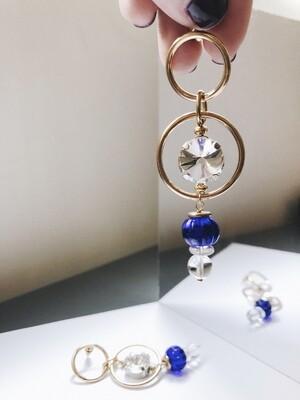 ir. Crystal Czech Glass Beads Earrings - Blue