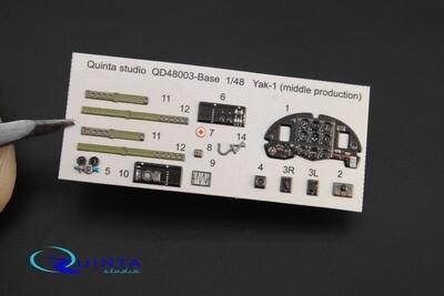 Quinta studio 1/48 Yak-1 (middle production) 3D interior panels (SF, Modelsvit kits) #QD48003