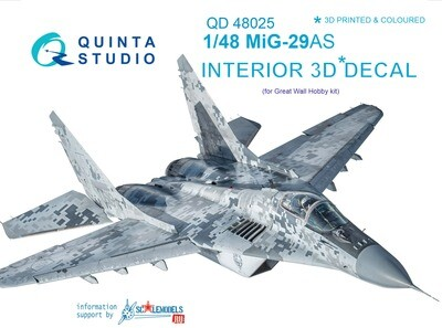 Quinta studio 1/48 MiG-29AS (Slovak AF version) 3D-Printed & colored decal interior (for GWH kits) QD48025