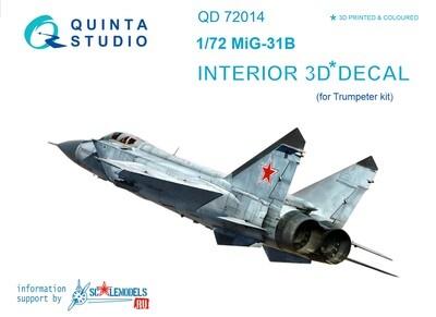 Quinta studio 1/72 MiG-31B 3D interior panels (Trumpeter kits) #QD72014