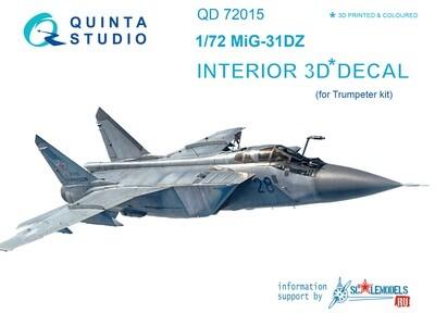 Quinta studio 1/72 MiG-31DZ 3D interior panels (Trumpeter kits) #QD72015