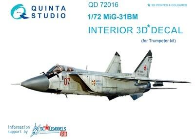 Quinta studio 1/72 MiG-31BM 3D interior panels (Trumpeter kits) #QD72016