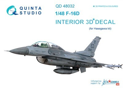 Quinta studio 1/48 F-16D  3D-Printed & colored Interior on decal paper (for Hasegawa kit) QD48032