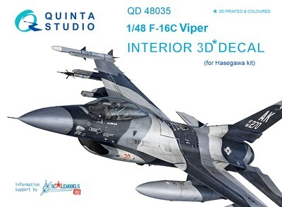 Quinta studio 1/48 F-16C Viper 3D-Printed & colored Interior on decal paper (for Hasegawa/Tamiya kit)