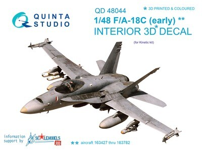 Quinta studio 1/48 F/A-18С 3D-Printed & colored Interior on decal paper (for Kinetic kit)