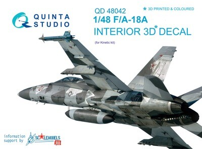 Quinta studio 1/48 F/A-18A 3D-Printed & colored Interior on decal paper (for Kinetic kit)
