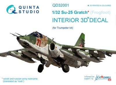Quinta studio 1/48 Su-25 3D-Printed & colored Interior on decal paper (for Trumpeter kit) QD32001