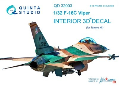 Quinta studio 1/32 F-16D 3D-Printed & colored Interior on decal paper (for Tamiya kit) QD32003
