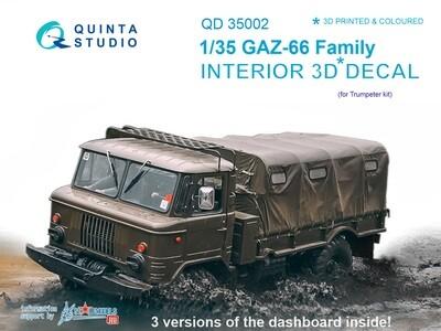 Quinta studio 1/35 Gaz-66 3D-Printed & colored Interior on decal paper QD35002