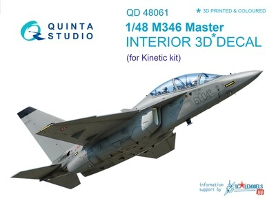 Quinta studio 1/48 M346 3D-Printed & colored Interior on decal paper (for Kinetic kit) QD48061