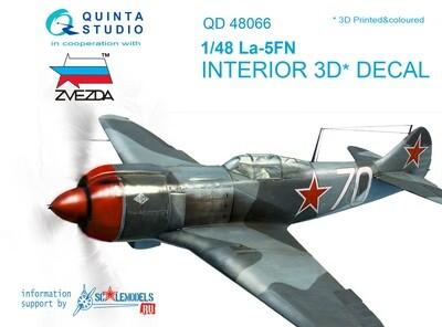 Quinta studio 1/48 La-5FN 3D-Printed & colored Interior on decal paper (for Zvezda kit) QD48066