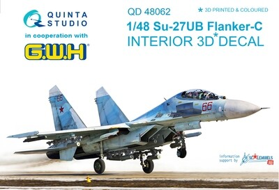 Quinta studio 1/48 Su-27UB 3D-Printed & colored Interior on decal paper (for GWH kit) QD48062